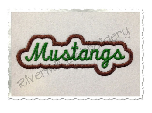 Applique Mustangs Team Name Machine Embroidery Design