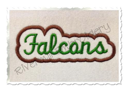 Applique Falcons Team Name Machine Embroidery Design