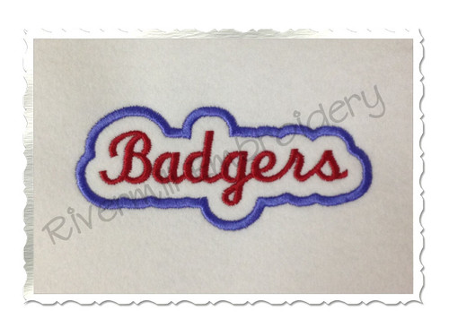 Applique Badgers Team Name Machine Embroidery Design