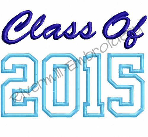 Class of 2015 Applique Machine Embroidery Design