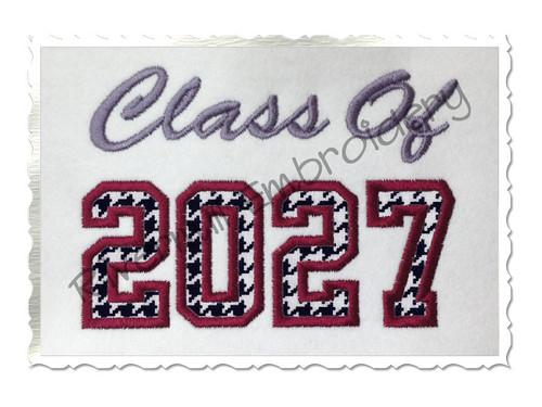 Class of 2027 Applique Machine Embroidery Design