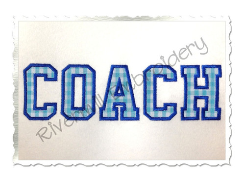 Applique Coach Athletic Style Machine Embroidery Design
