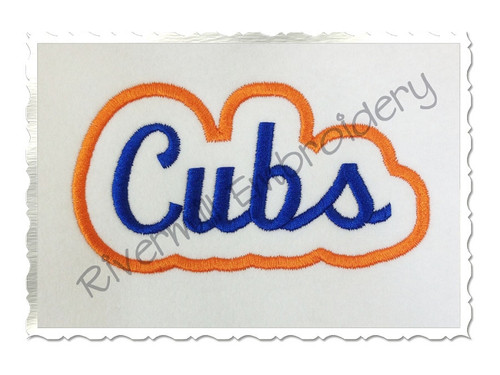 Applique Cubs Team Name Machine Embroidery Design