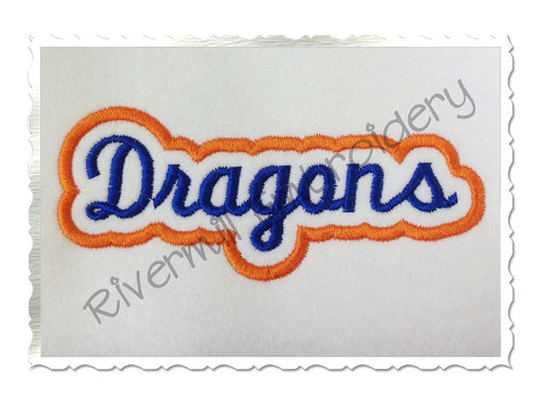 Applique Dragons Team Name Machine Embroidery Design