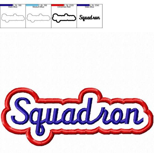 Applique Squadron Team Name Machine Embroidery Design