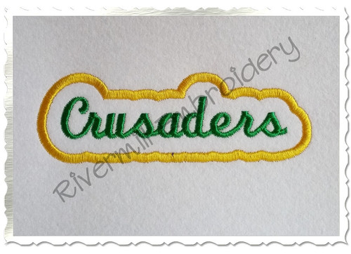 Applique Crusaders Team Name Machine Embroidery Design