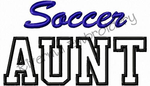 Soccer Aunt Applique Machine Embroidery Design