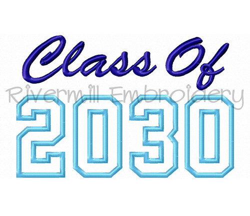 Class of 2030 Applique Machine Embroidery Design