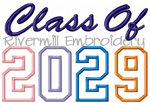 Class of 2029 Applique Machine Embroidery Design