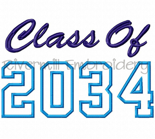 Class of 2034 Applique Machine Embroidery Design