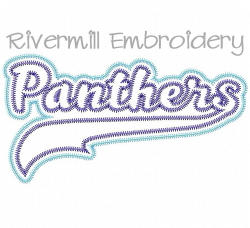 Zig Zag Double Applique Panthers Machine Embroidery Design
