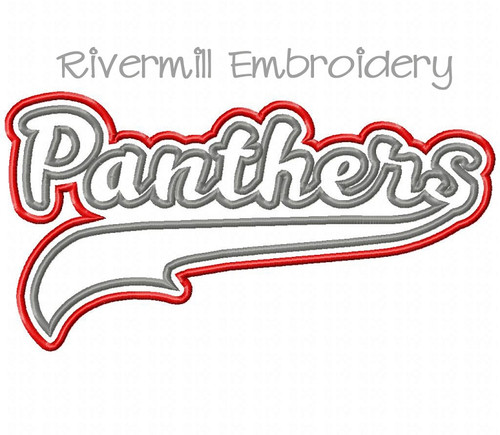 Double Applique Panthers Machine Embroidery Design
