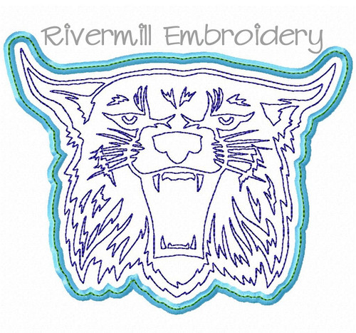Applique Wildcat Face Machine Embroidery Design - Style 3