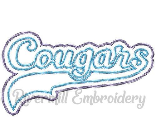 Zig Zag Double Applique Cougars Machine Embroidery Design