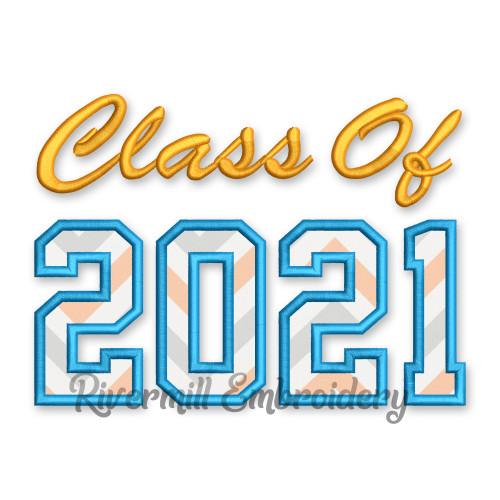 Class of 2021 Applique Machine Embroidery Design