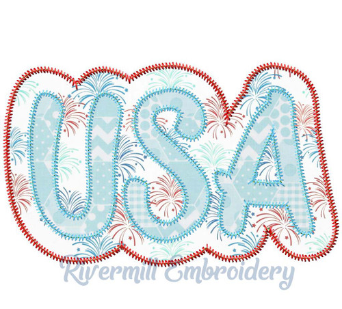 Zig Zag Double Applique USA Machine Embroidery Design