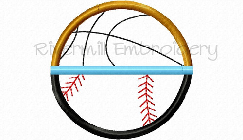 Small Applique Half Softball or Baseball Half Basketball Machine Embroidery Design