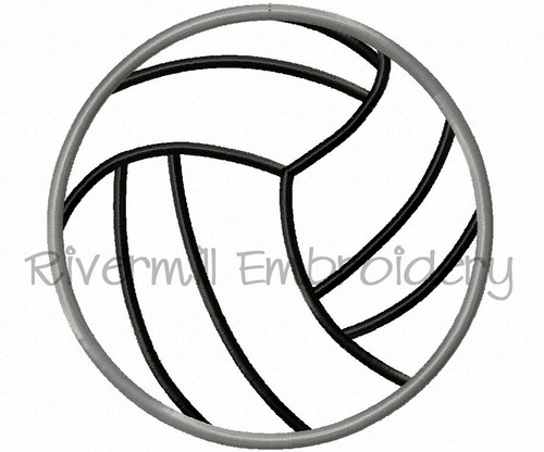 Applique Volleyball Machine Embroidery Design