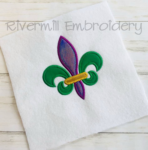 Applique Mardi Gras Fleur De Lis Machine Embroidery Design