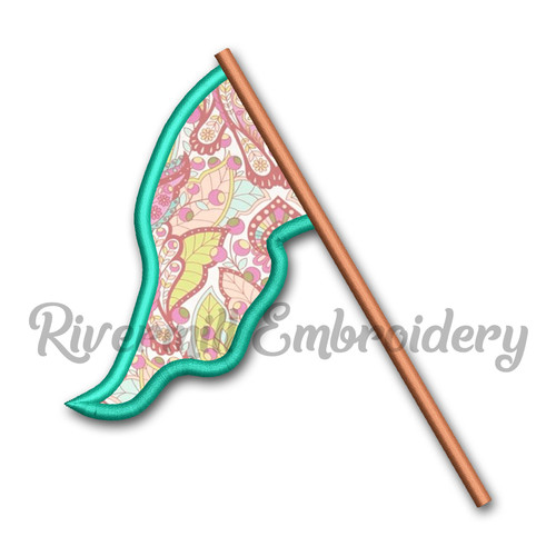Applique Color Guard Flag Machine Embroidery Design