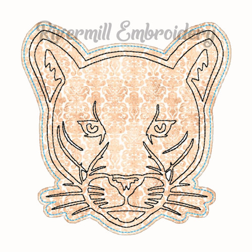 Raggy Applique Mountain Lion Face Machine Embroidery Design