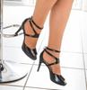 Black Mid Heel Peep Toe Sandal I JoJo By Scarlettos