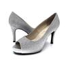 Silver Glitter Peep Toe Mid Heel Pump I Selena by Scarlettos