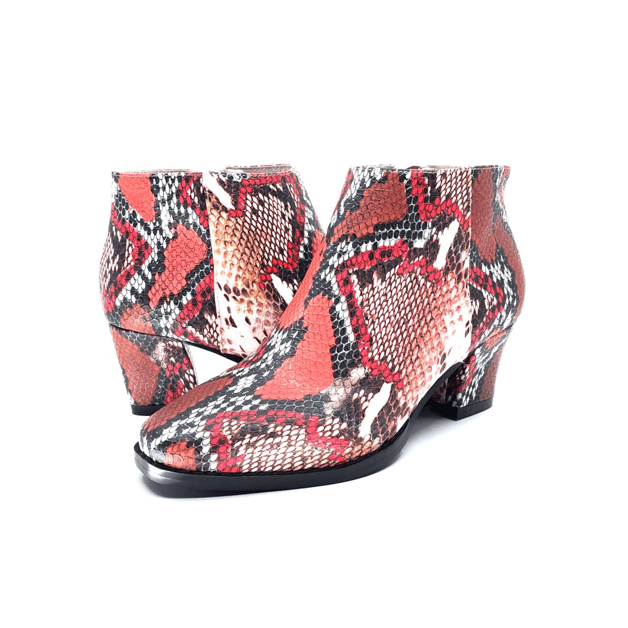 Pink Python Low Heel Boot I Iris by Scarlettos