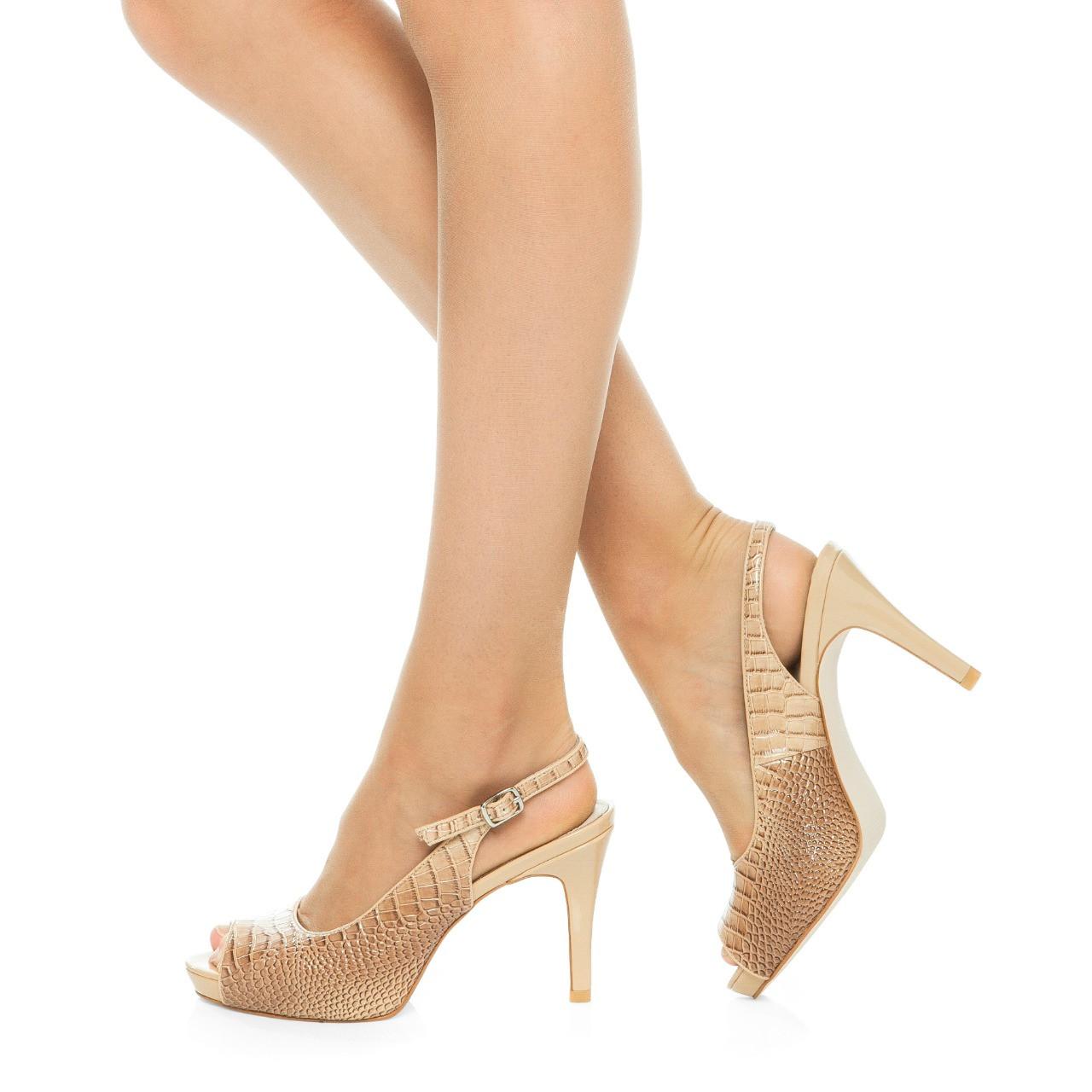 Nude Mid Heel Slingback I Bella by Scarlettos