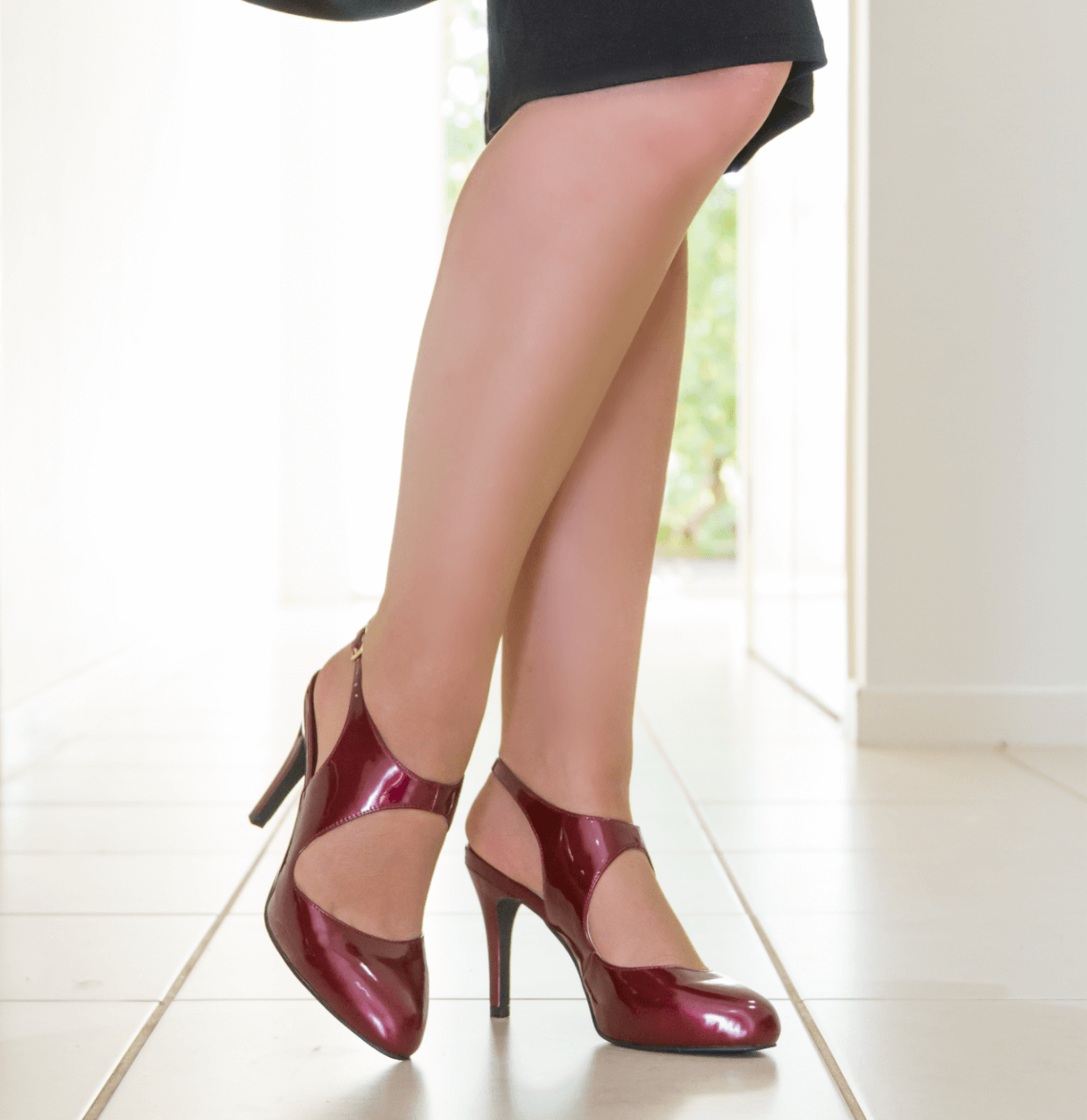 Red Mid Heel T-Bar Pump I Claret by Scarlettos