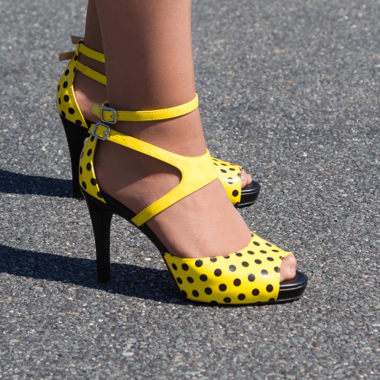 Black Yellow Multi Toned Mid Heel Peep Toe Sandal I Savannah By Scarlettos