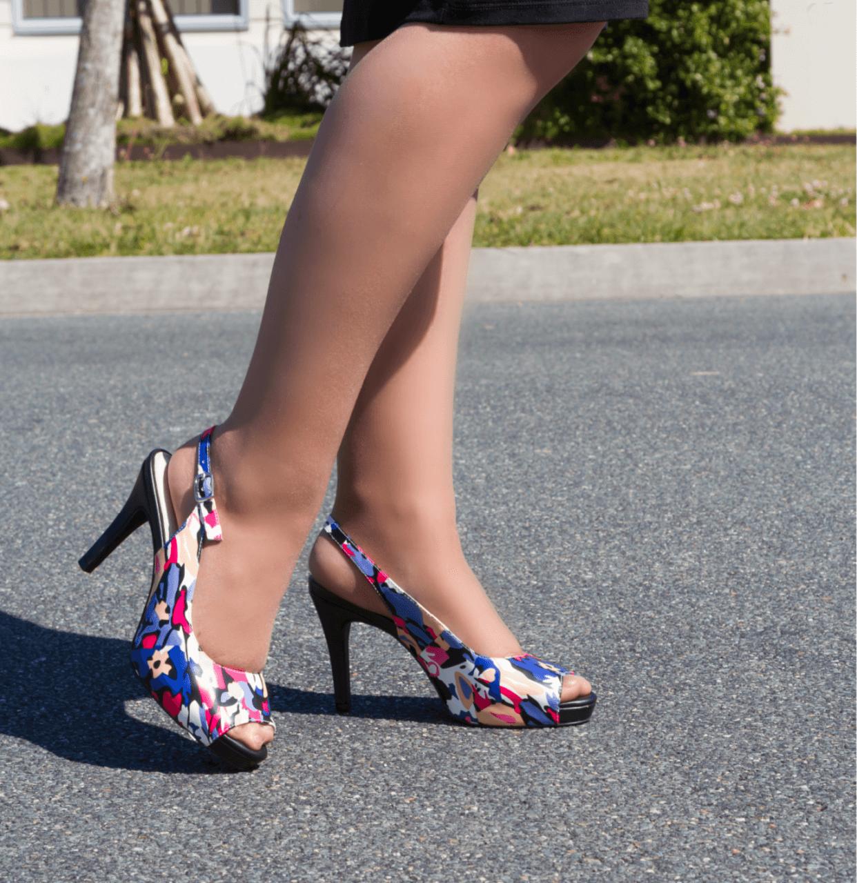 Multi Toned Mid Heel Slingback I Austin by Scarlettos