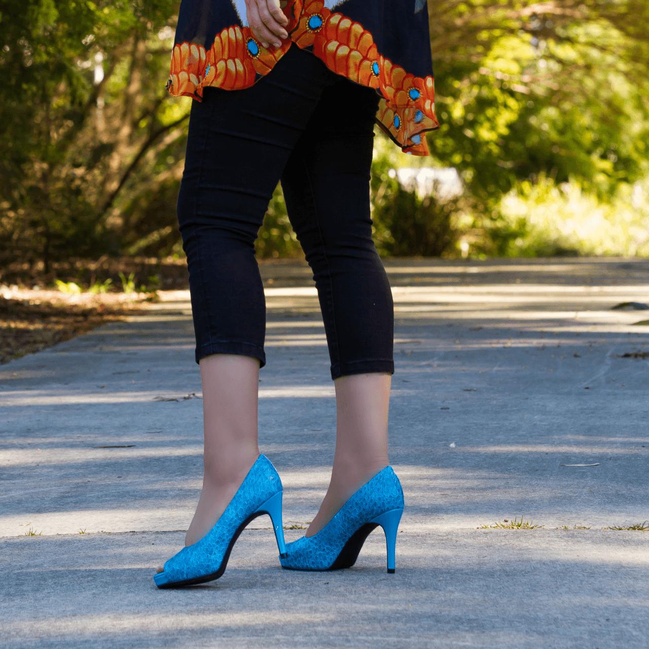 Blue Mid Heel Pump I Addison by Scarlettos