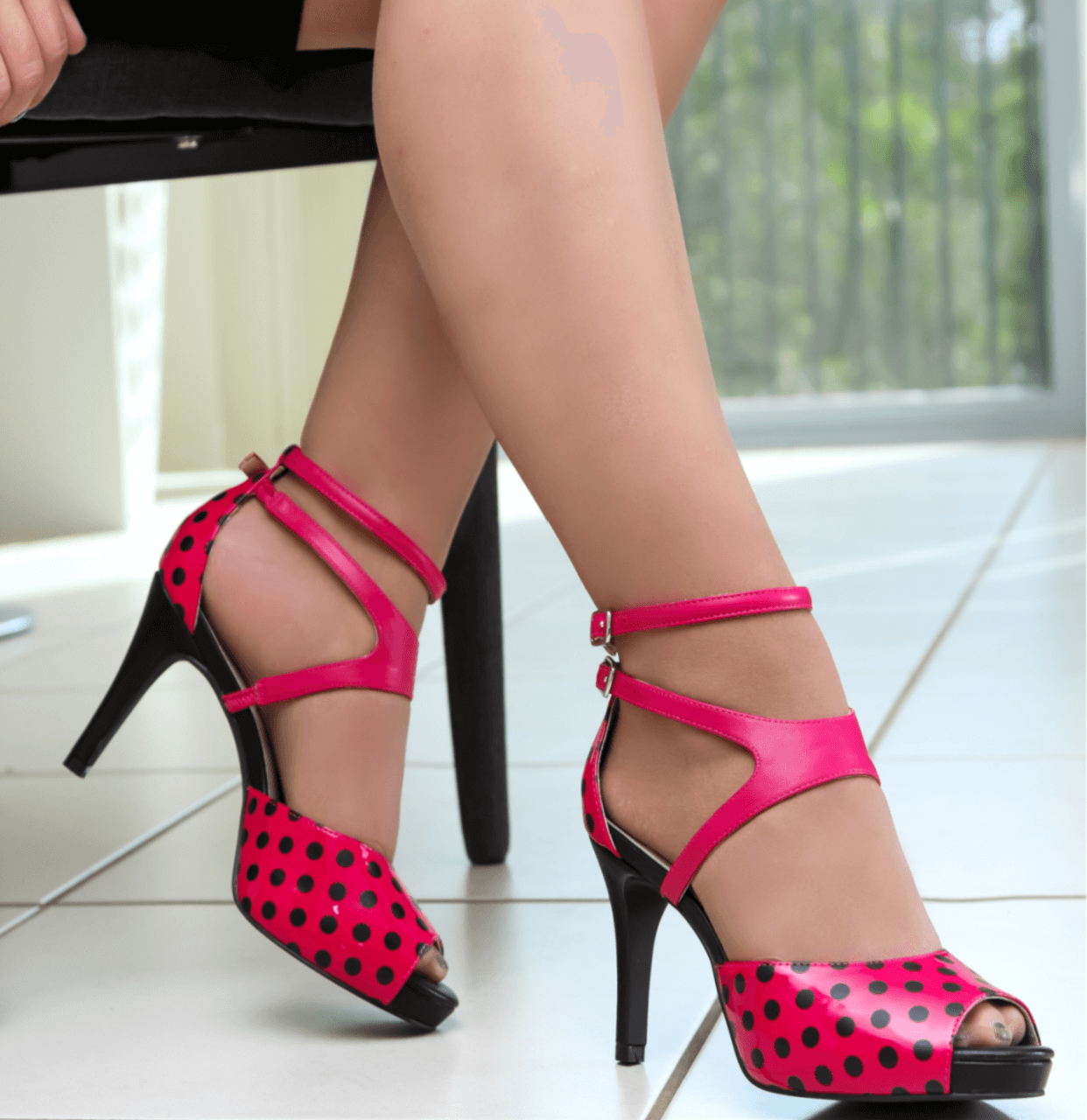 Pink Mid Heel Peep Toe Sandal I Penny By Scarlettos