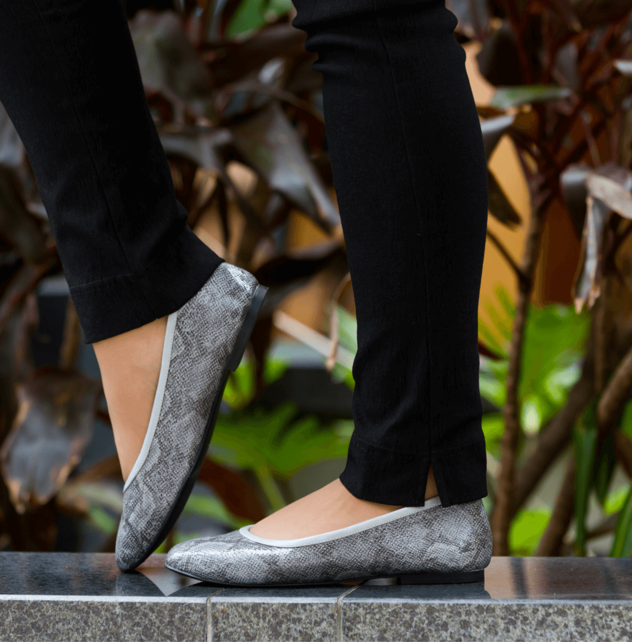 Grey Python Casual Ballet Flat I Grace by Scarlettos