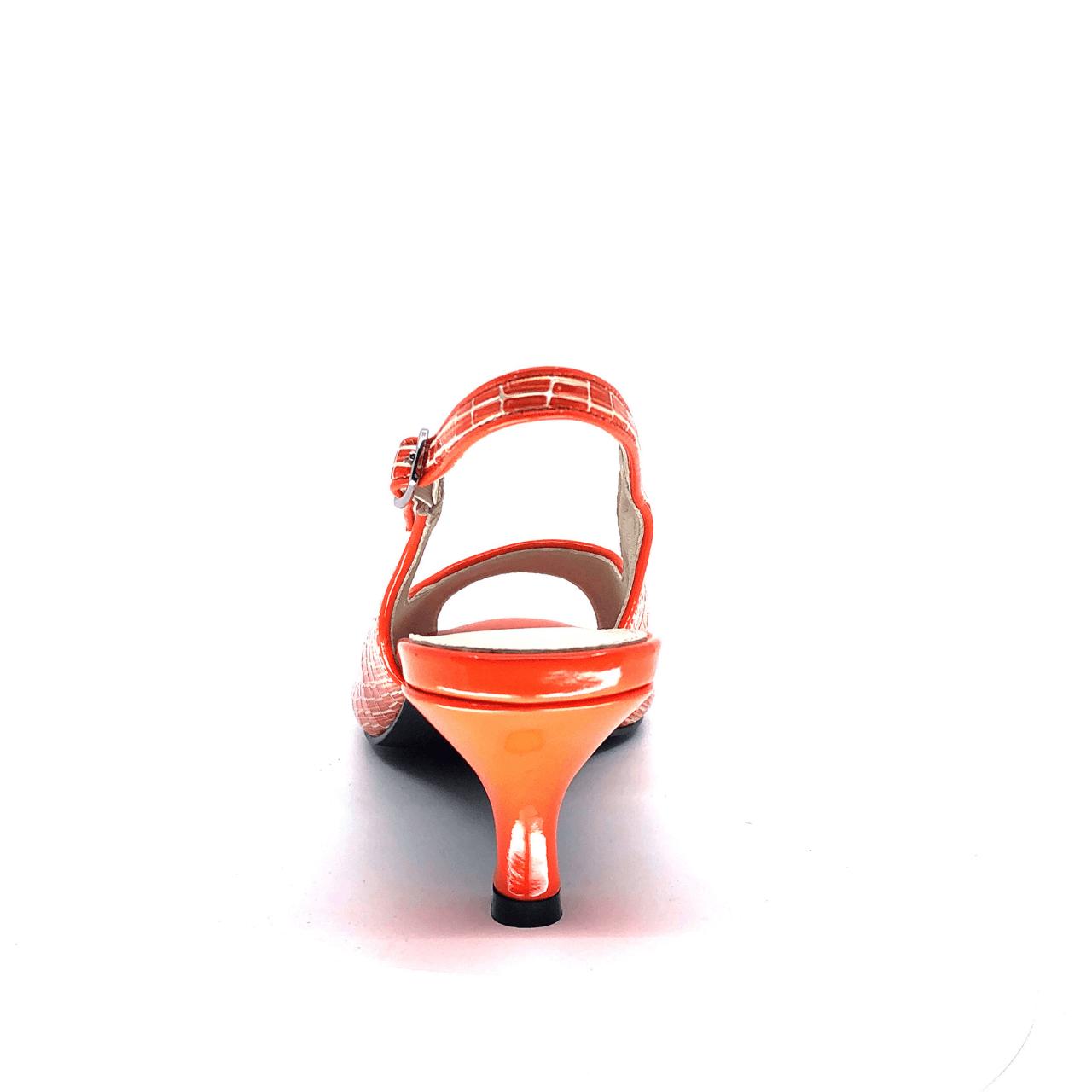 Orange Kitten Heel Slingback I Odin by Scarlettos