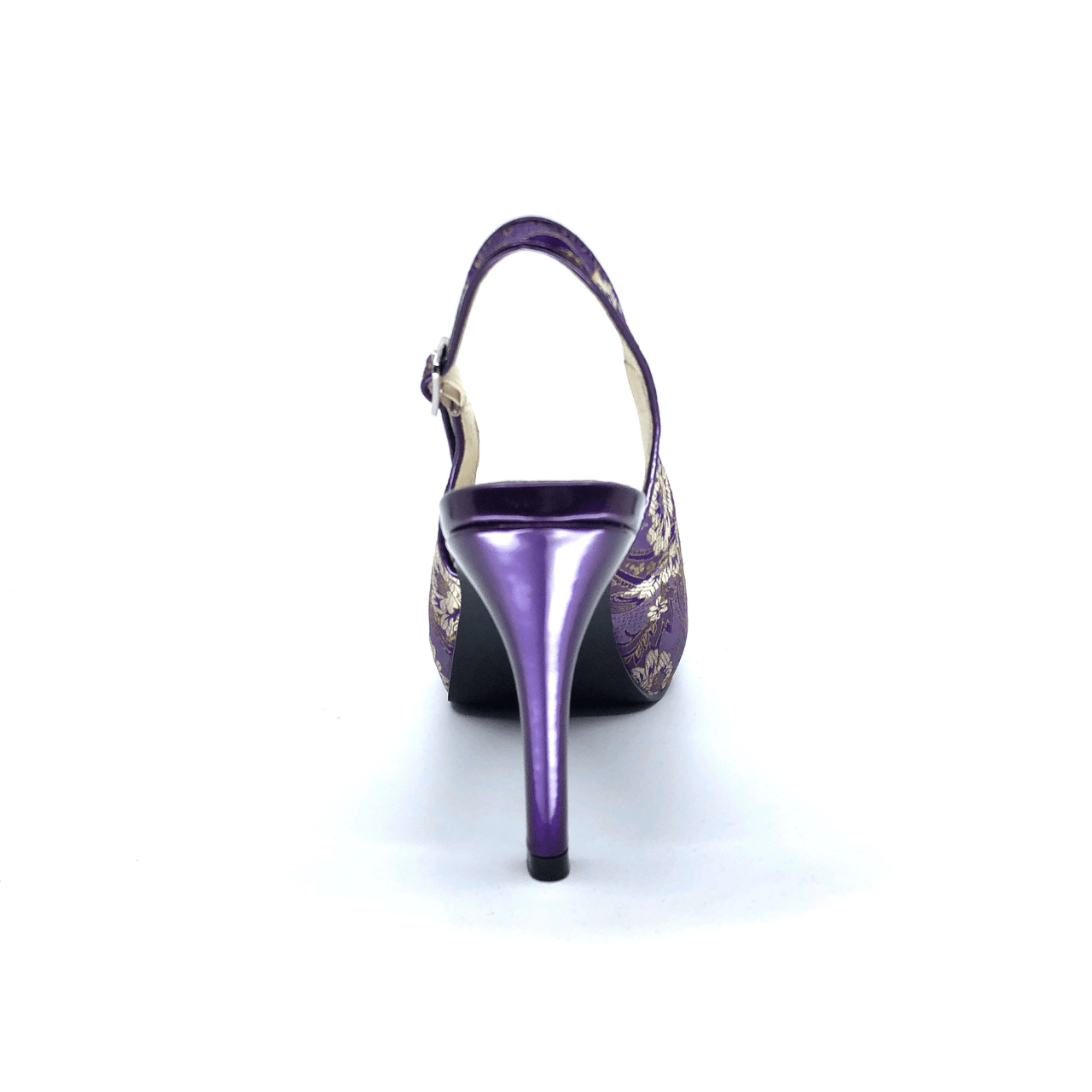 Purple Floral Mid Heel Slingback I Violet by Scarlettos