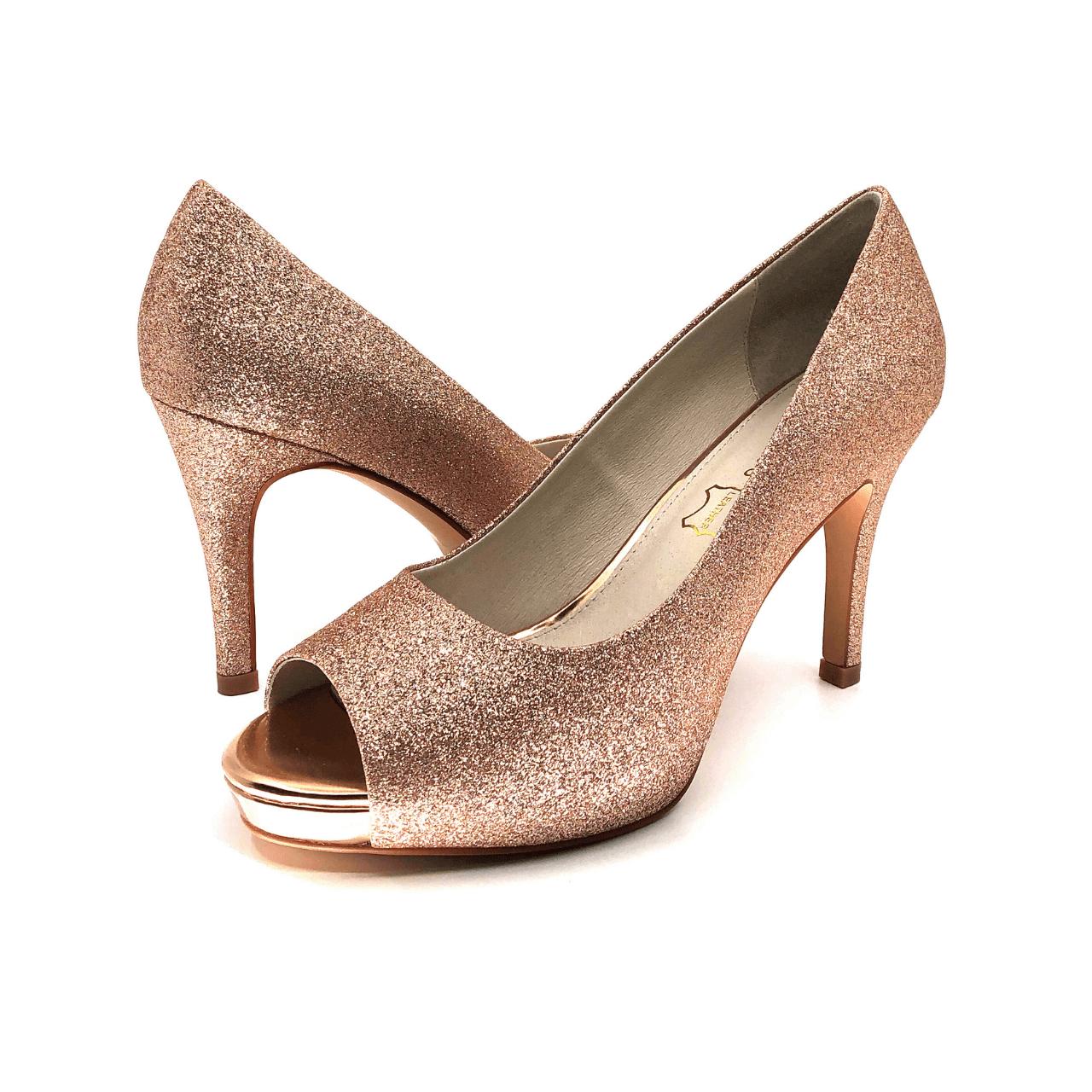 Rose Gold Glitter Peep Toe Mid Heel Pump I Gigi by Scarlettos