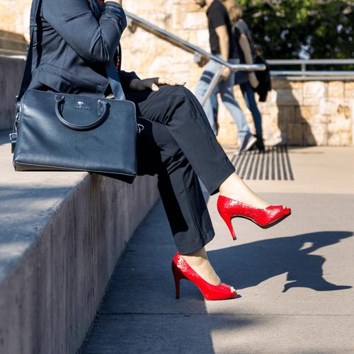 Red Mid Heel Pump I Roxy by Scarlettos