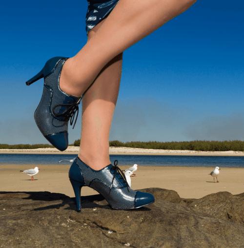 Navy Mid Heel Bootie I Rita by Scarlettos