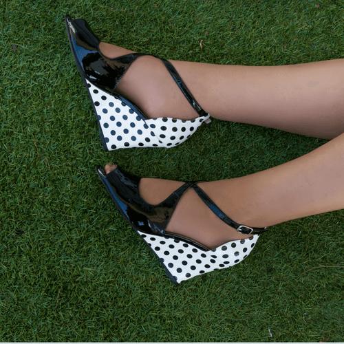Black & White Spot Multi Toned Mid Heel Wedge I Zachery by Scarlettos