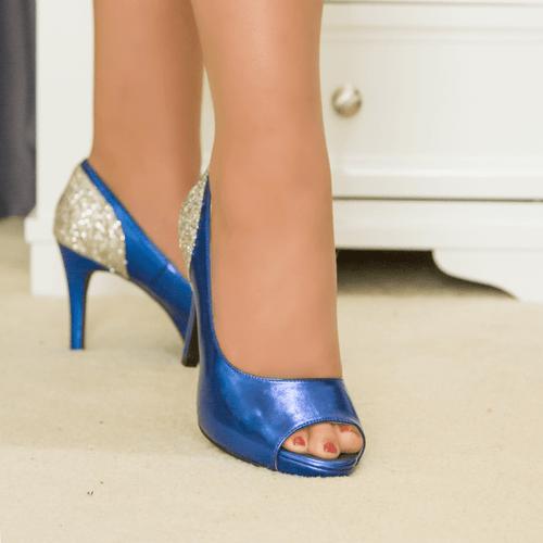 Electric Blue Glitter Mid Heel Pump I Alexis by Scarlettos