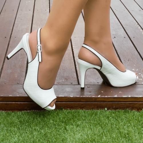 White Mid Heel Slingback I Whitney by Scarlettos