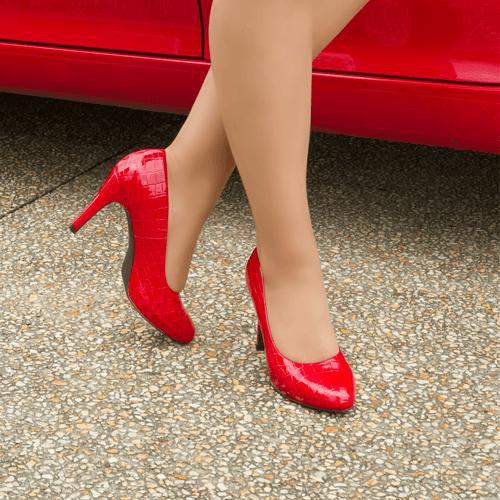Red Mid Heel Pump I Tessa by Scarlettos