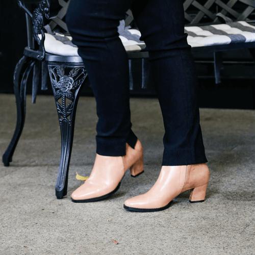 Flesh Pink Multi Toned Low Heel Boot I Fabian by Scarlettos