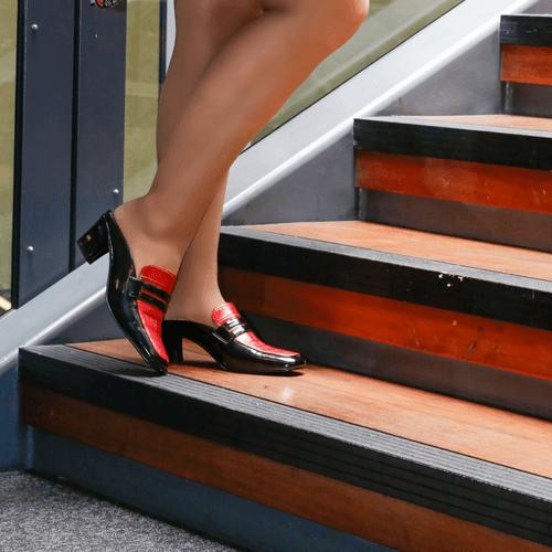 Black & Red Low Heel Mule I Malik by Scarlettos