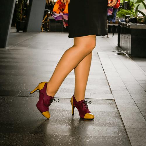 Purple & Mustard Multi Toned Mid Heel Bootie I Morocco by Scarlettos