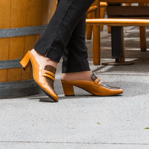 Caramel & Chocolate Multi Toned Low Heel Mule I Carmel by Scarlettos
