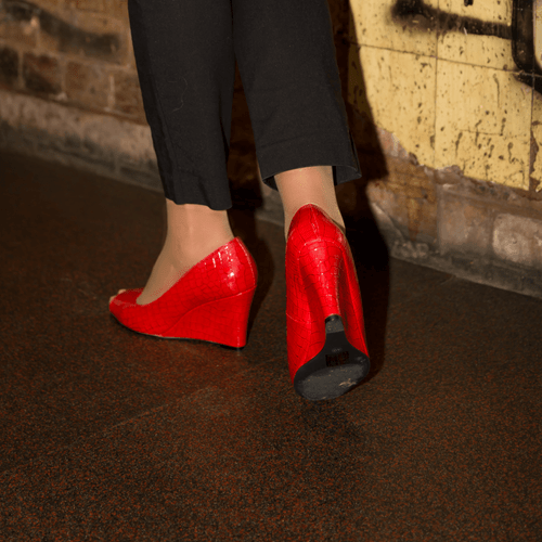 Red Mid Heel Wedge I Chilli by Scarlettos