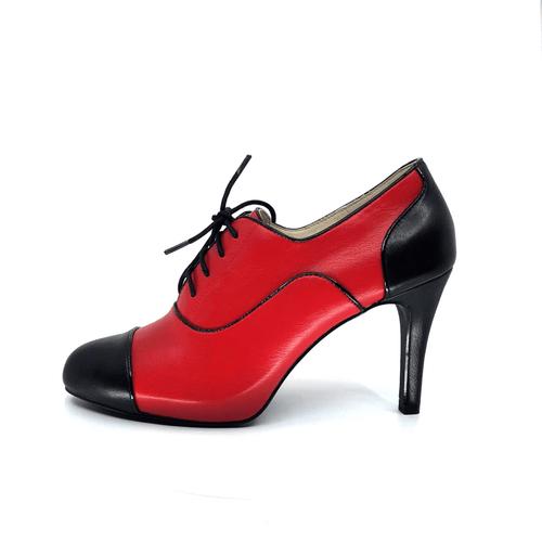 Red & Black Mid Heel Bootie I Raven by Scarlettos